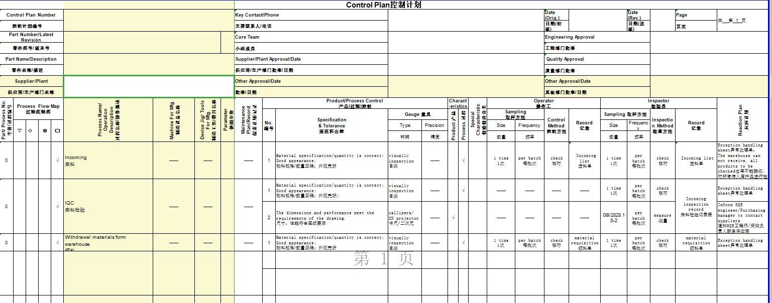 PPAP提交资料--控制计划Control Plan(中英文Excel版本)